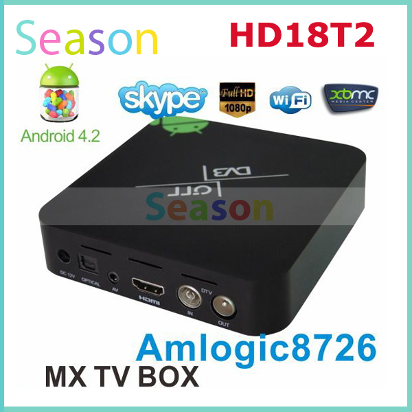 MX TV BOX HD18T2 Android 4.2 TV Box Support DVB-T2 Smart Media Player With Remote controller with WIFI HDMI free shipping(China (Mainland))
