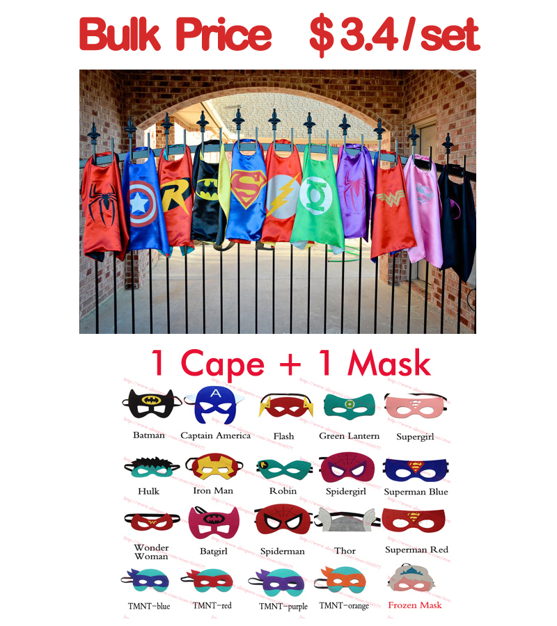Superhero cape (1 Cape +1 Mask) - superman batman spiderman super hero capes for kid Birthday Party Cosplay(China (Mainland))