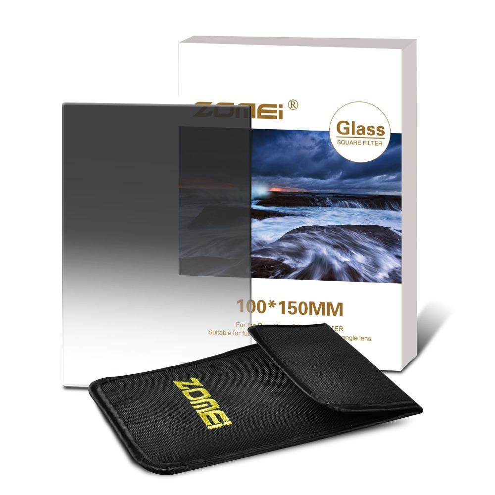 ZOMEI 150*100mm HD Optical Glass Soft Graduated Neutral Density ND2(0.3) ND4(0.6) ND8(0.9) Square filter for Cokin Z Series(China (Mainland))