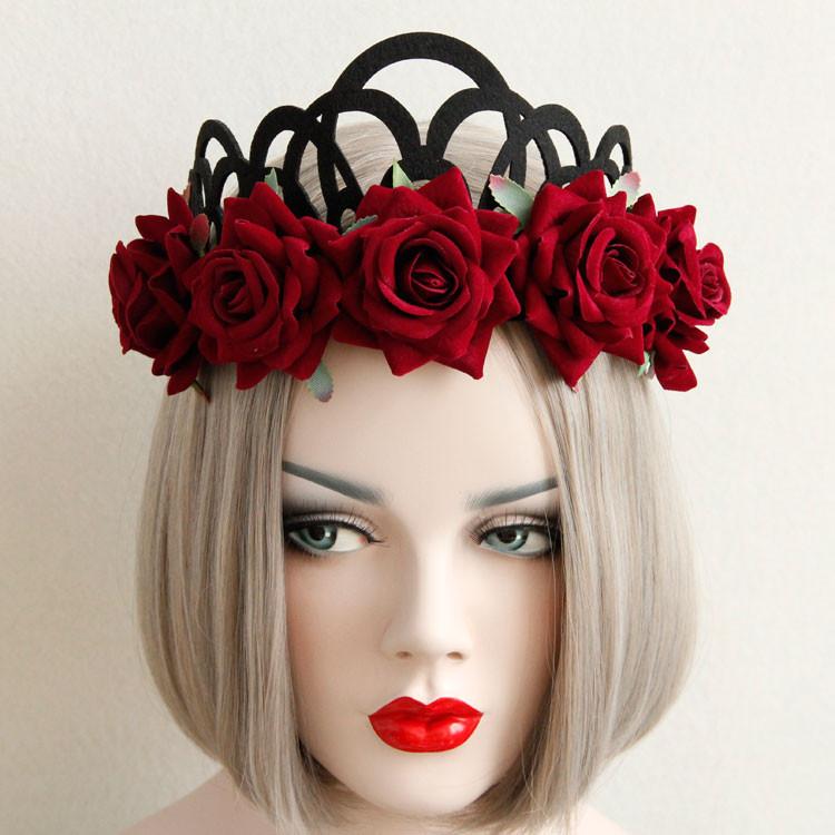 New Red Rose Flower Hairbands Gothic Queen Crown Tiara Headband Wreath Gothic Punk Headwear Woman Wedding Party Hair Accessories(China (Mainland))