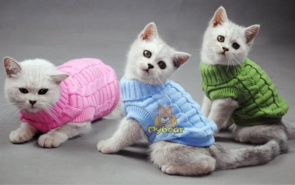 NEW Dog Cat Sweater Spagetti Color Warm Autumn Winter Dog Cat Sweater Pet Jumper Cat Clothes For