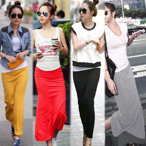 Женщины твердые модальные хлопок макси юбка женщины высокой талией тонкие бедра длинные ...