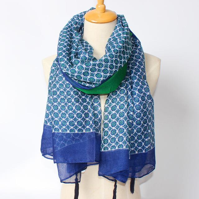 Новый леди шарф синий цветочные лоскутная Pushmina кисточки обертывания солнцезащитный крем лучший матч шали и шарфы