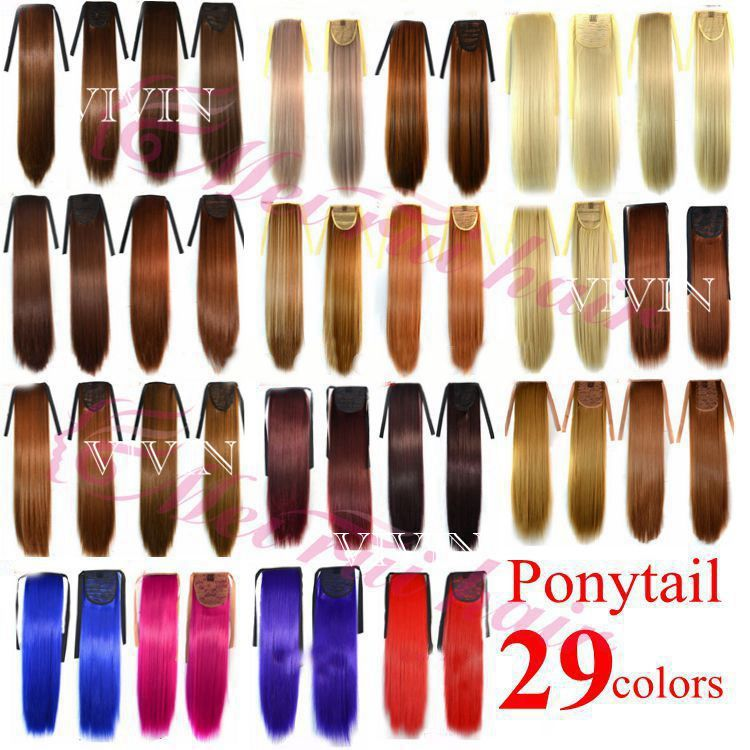 "Гаджет  29 Different Colors Ponytail Hairpieces 90G 22"" Hair Pieces Buns Drawstring Ponytails Straight Synthetic Hair Extension VH054 None Волосы и аксессуары"