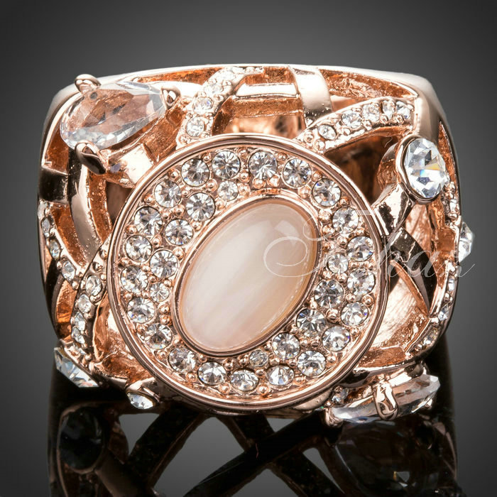 High Quality Fashion Brand 18K Real Rose Gold Plated Austrian Crystals Pink Opal Ring FREE SHIPPING! (Topaz AR051)(China (Mainland))