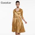 Clocolor Vintage dress Summer women Golden belt V neck Rockabilly Dress A line Cotton Blends Dress