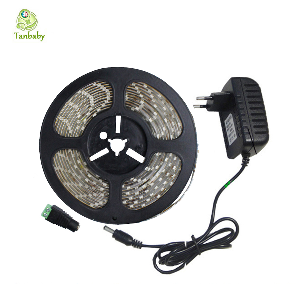 Tanbaby 5M SMD 3528 LED Strip Light 12V 2A Power supply 60 Led/M White Warm Red Green Blue flexible rope decoration