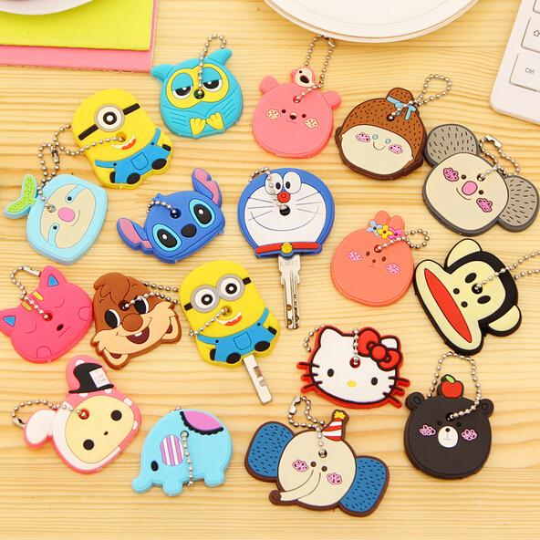 Hot Sale Novelty Items Anime Cute Hello Kitty Silicone Key Cover Cap Minion Keychain Women Key