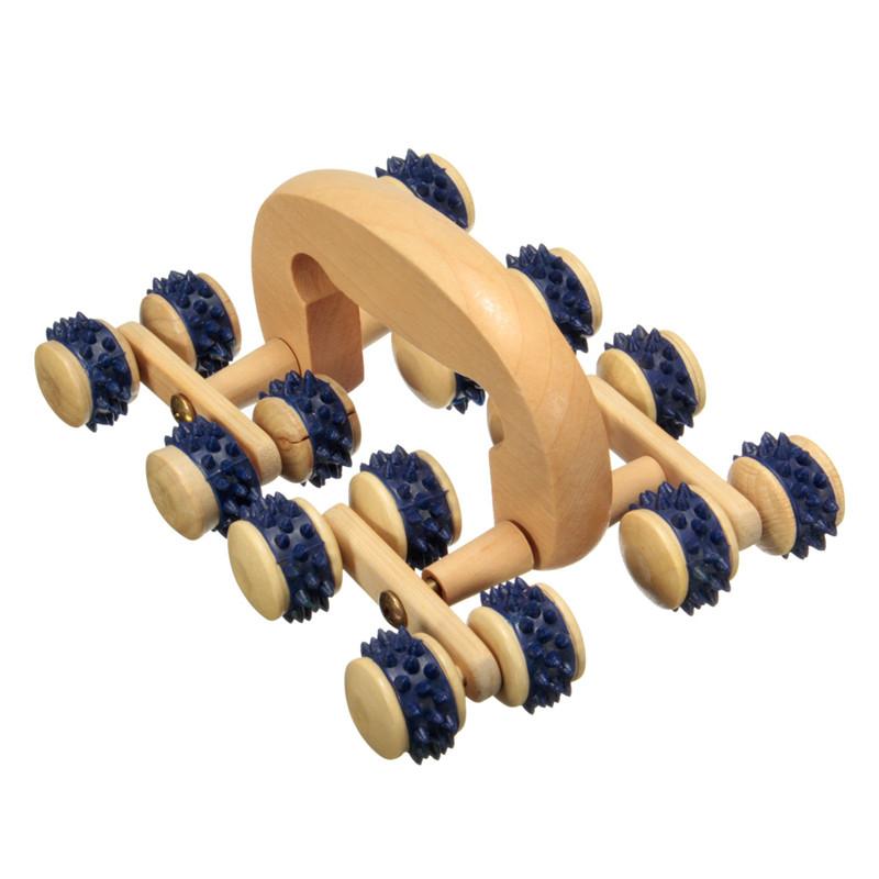 High Quality 16 Wood Wooden Roller Rolling Ball Wheel Massager Neck Back Leg Waist Body Relax Slimming Care Fitness Massage Tool<br><br>Aliexpress