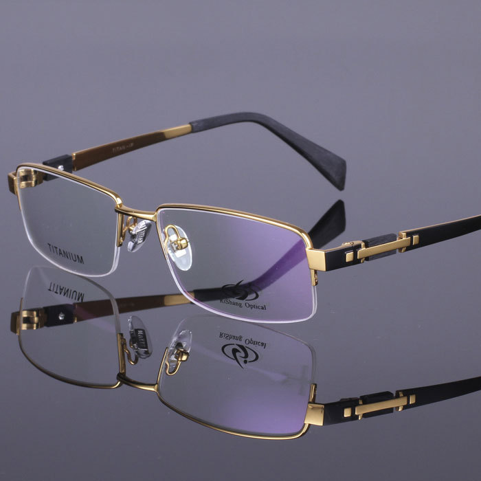 Pure Titanium Eye Glasses Half Rim Gentlemen Priscription High Quality Optical Eyewear Frame(China (Mainland))