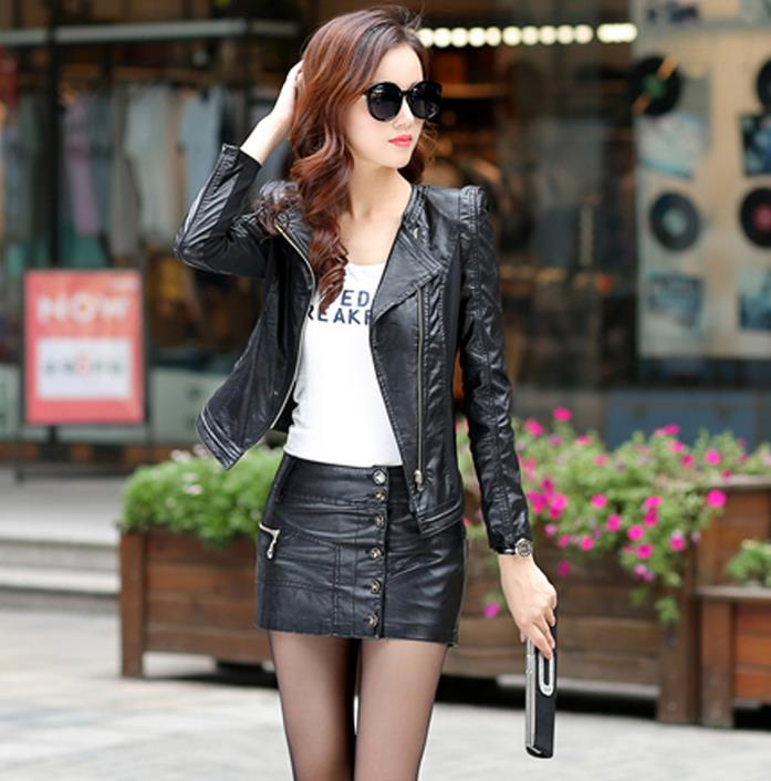 Stand collar spring black slim fit leather jacket women fashion motorcycle PU short coats female high quality british style 2XLОдежда и ак�е��уары<br><br><br>Aliexpress