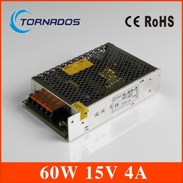 60W 15V power supply 15v 4A power suply 60w 15v led power supply unit ac dc converter for cnc led strip lamp (S-60-15)(China (Mainland))