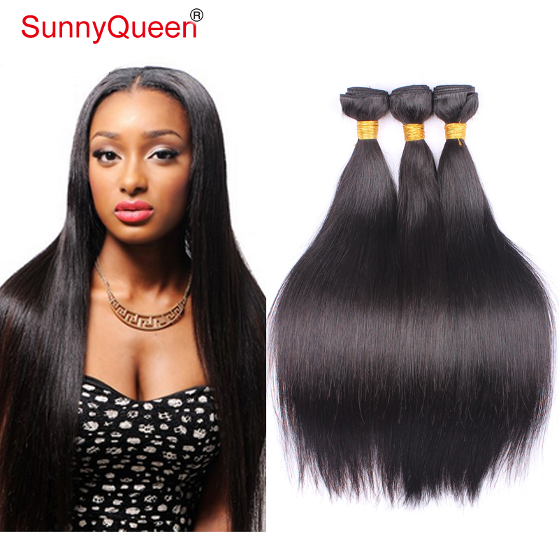 Sunny Queen hair product brazilian straight hair 3 pcs lot free shipping brazilian hair weave bundles human hair weave straight