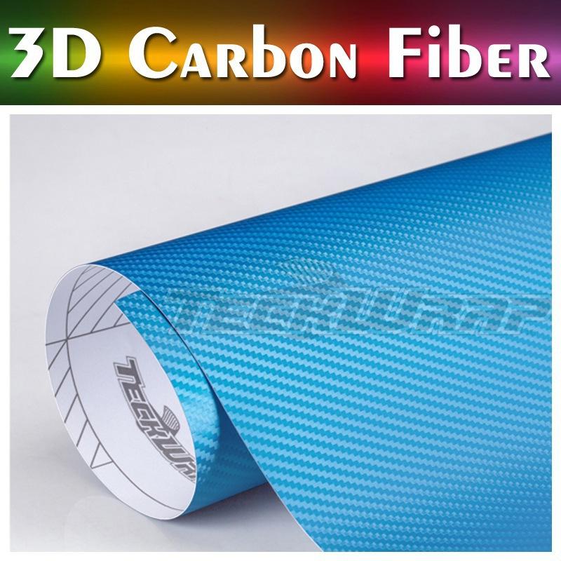 German Duty Free Teckwrap 2015 new product air release 3d carbon fiber vinyl Light Blue(China (Mainland))