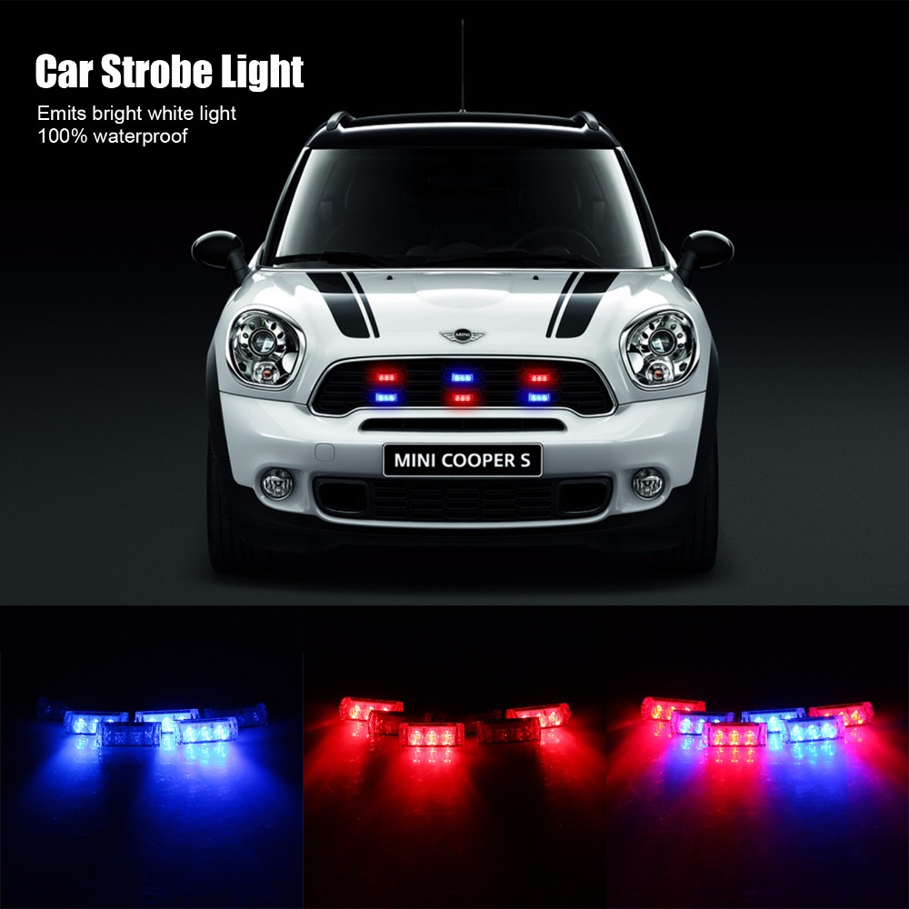 Car Styling 6x3 LED DC 12V Emergency Warning Waterproof Car Truck Strobe Flash Signal Light for BMW E46 Mercedes Ford Blue Red(China (Mainland))
