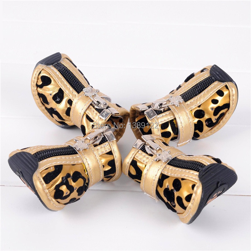 Dog winter warm cotton boots Small dog shoes , golden zebra Teddy expensive Bimbo America puppy dog shoes pet dog shoes(China (Mainland))