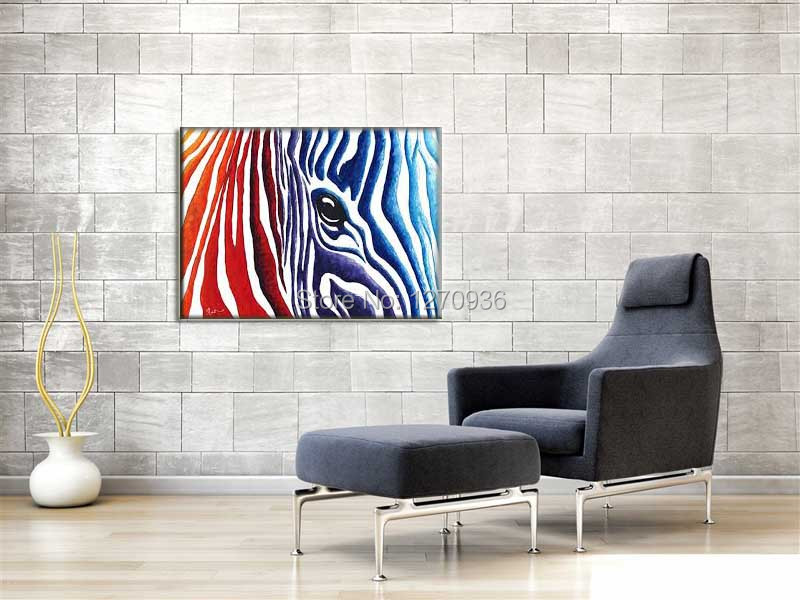 Handpainting Modern Abstract Colorful Fringe Horse Wall Art Decor Canvas Picture Handcraft Animal Equine Eye Acrylic Oil Paints(China (Mainland))