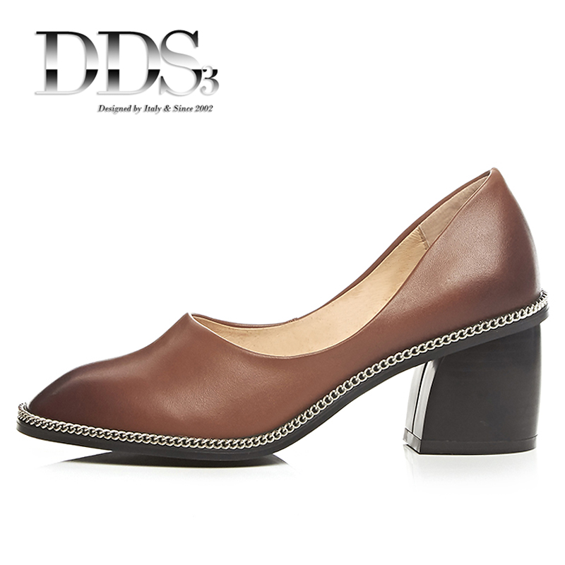 DDS3 Women Pumps Genuine Leather Women Heels Metal Square Toe Chains Decorated Retro Scarpins Shoes Woman Leather Pumps<br><br>Aliexpress