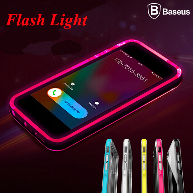 For Iphone 6 Baseus Shiny LED Flash Light 1mm Frame Case For Apple Iphone 6 4.7'' Luminous Glitter Crystal Mobile Phone Cover(China (Mainland))