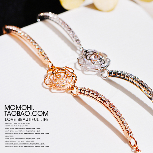 Silver zircon camellia crystal bracelet female fashion hand accessories honey bracelets rose gold birthday gift - Tina huang store