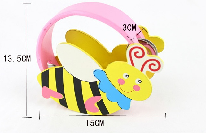 Wood Baby Infant Hand Barrows Drum Cartoon Animal Bell Tambourine Music 0 - 12 months Toy Handbell Rattle(China (Mainland))
