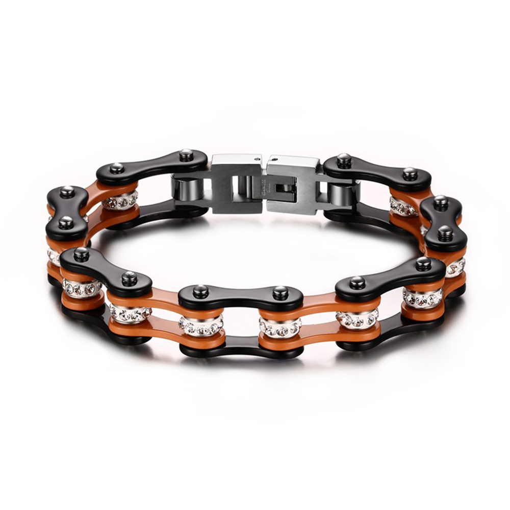 Fashion Links Chain Biker Bracelets in 316L stainless steel 10mm Wide blue orange biker chain link bracelet mens bike bracelets(China (Mainland))