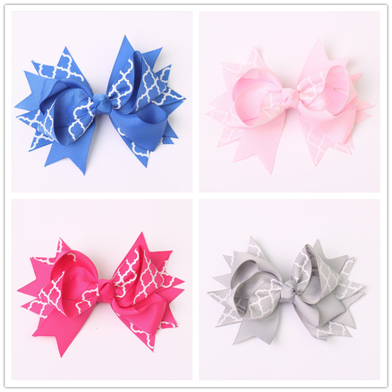 2pcs/lot 4.5 inch girls children hair bow baby hair clip ribbon bow clips for kids girls hairgrips hairpins headwear accessories(China (Mainland))