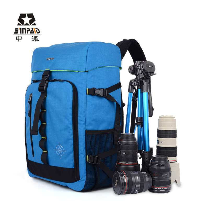 Trekker DSLR Camera Bag Photo Shoulder Bag Nylon Backpack Bag Blue Camera Photo Bag Backpacks 100% Genuine(China (Mainland))