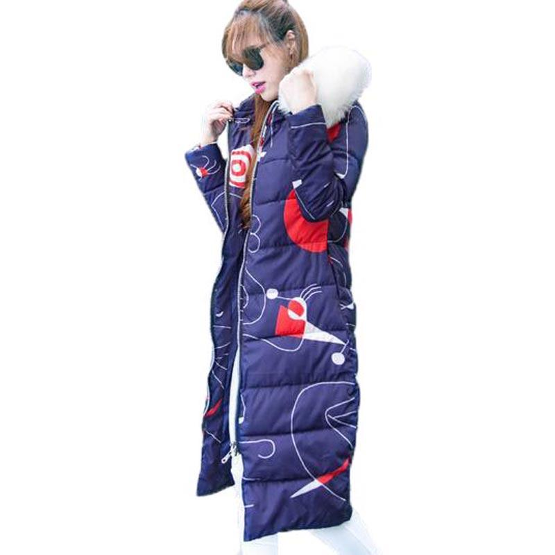Фотография Winter Jacket Women X-Long Hooded Wadded Coat with Fur Collar Fashion Print Down Cotton Coat Slim Thick Warm Parkas PW0074