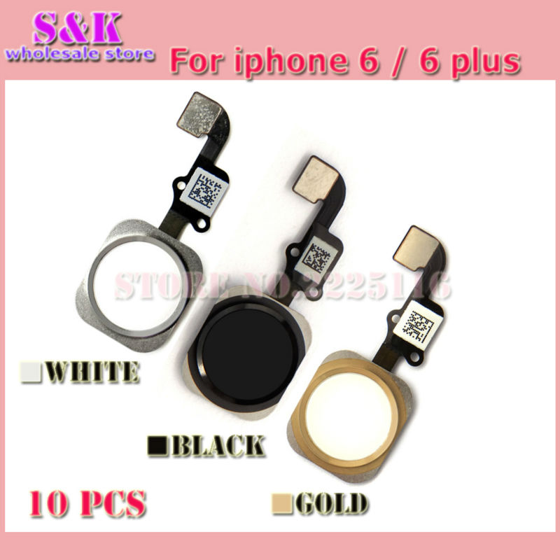 10 pcs/lot New Black White Gold Home Button Flex Cable for iPhone 6 plus Home button Flex ribbon cable Assembly Free shipping(China (Mainland))