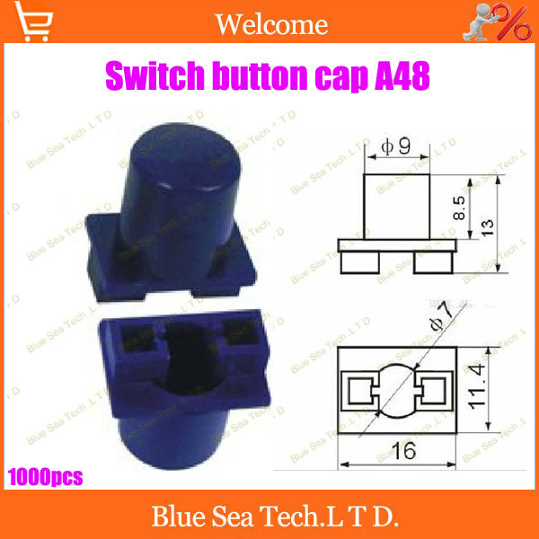 Free shipping Good Quality 1000Pcs Tactile Push Button Switch Cap, A48 Switch Cap blue Color,Fit some kinds button switch(China (Mainland))