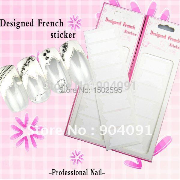 2014 NEW 90Sheet/LOT 10 colors White French Nail stickers Nails Decal Creative French Sticker nail art individually packaging<br><br>Aliexpress