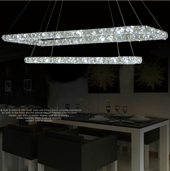rectangle led crystal chandelier,modern dining room lamp,fashion pendant lamp,modern chandelier,free shipping(China (Mainland))