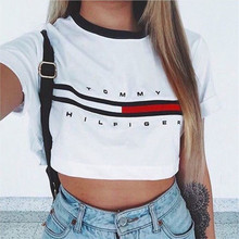 Summer Style 2016 Print Top Girls Casual Tee Short Sleeve White Crop Tops Cropped For Women Punk Hip Hop T-shirts tshirt(China (Mainland))