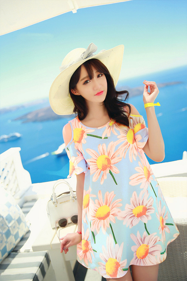 2015 Summer Women Dresses Ladies Sexy Short Sleeve O-neck Casual Beach Outfit Vestidos Sunflower Dress Plus Size 4XL(China (Mainland))