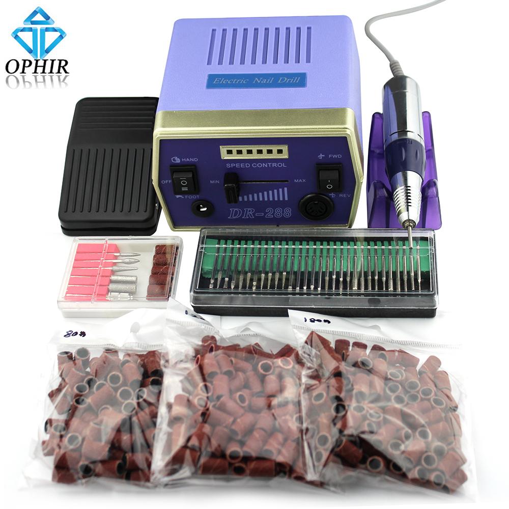 Фотография OPHIR Electric Manicure Drills Nail Machine Art Sets+30pcs Drill Bits+300pcs Sanding Bands 220V EU Plug_ KD141BE+163+165-167