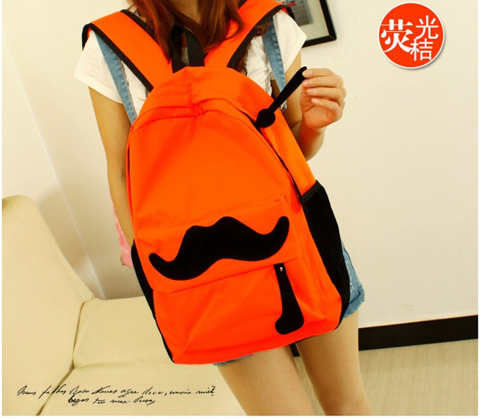 New 2015 Fashion Women Backpack Candy Color Famous Brand Beard School Bag For Women Casual Big Mustache Backpacks<br><br>Aliexpress