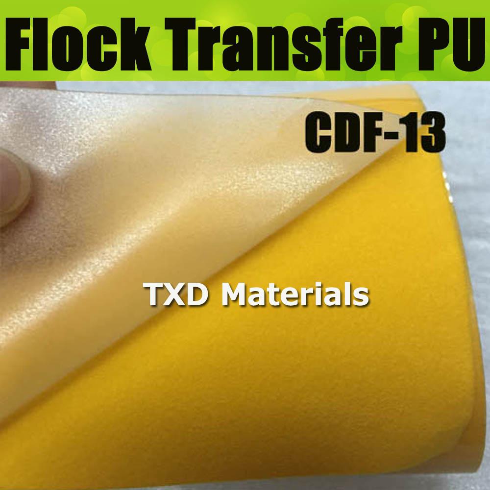 CDF-13 Dark yellow High quality heat transfer flocking PU vinyl, flock pu transfer film for shirts with size 50X100CM(China (Mainland))