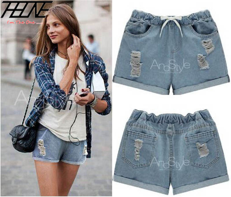 2015 Summer Women Denim Jeans Shorts Plus Size 5XL Elastic Waist Ripped Holes Flange Casual Crimping Hot Trousers Light Blue(China (Mainland))