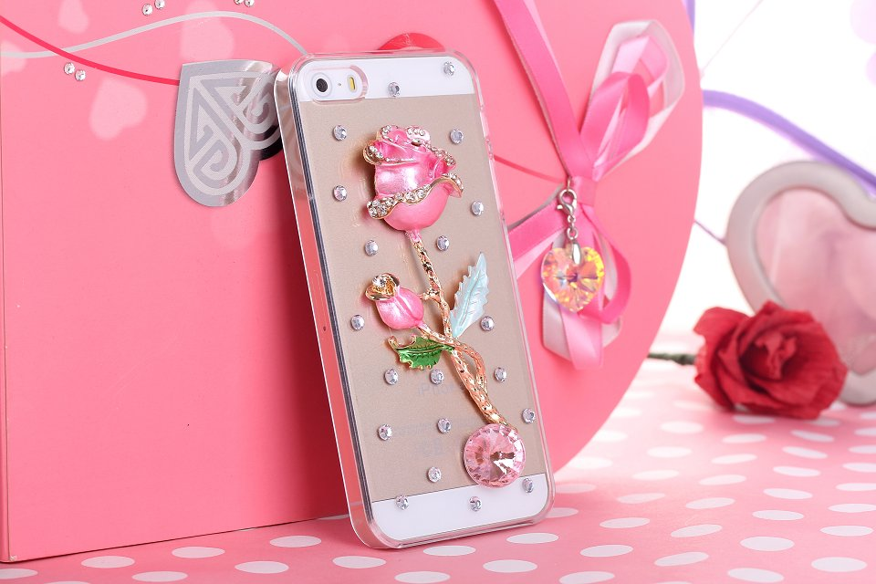 NEW Pure manual Multi colored rose 3D Bling Crystal Rhinestone Hard phone Case Cover for Samsung Galaxy Note N7000/I9220(China (Mainland))