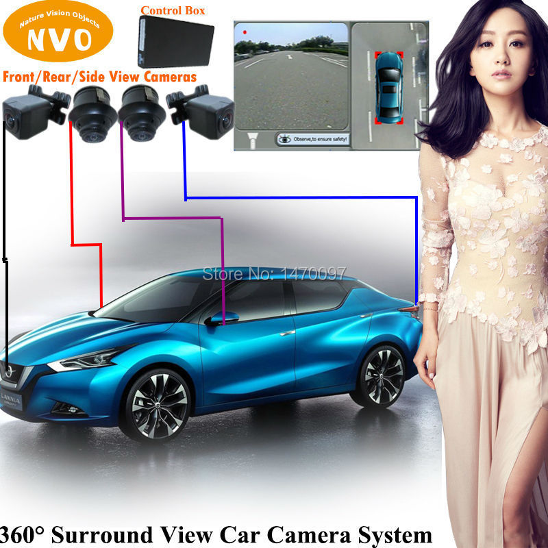 360 Around View HD Universal Car Rear View Parking Backup Reversing Camera System With DVR Function(China (Mainland))