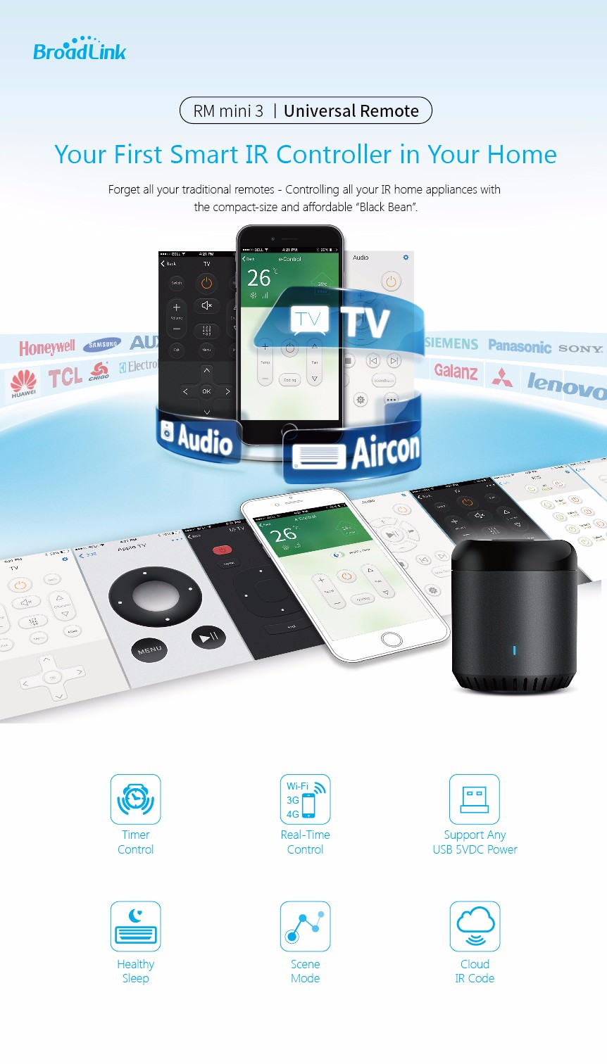 Broadlink RM3 RM Pro Smart Home Automation Module Universal Intelligent Remote Controller WIFI+IR+RF Switch for iOS Android