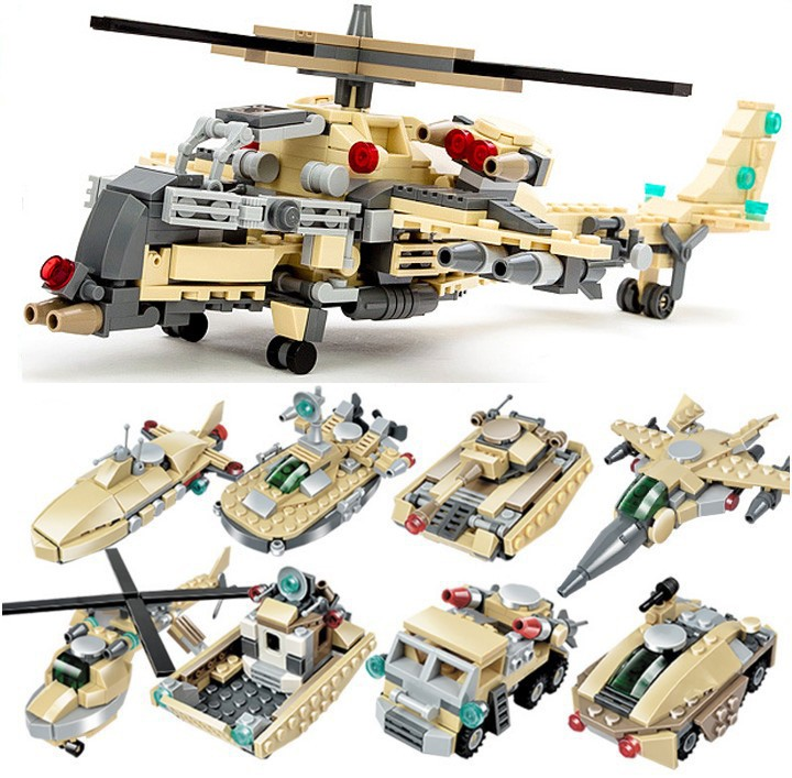 679pcs/set Metropolis Military Helicopter Army mannequin Constructing Blocks Set Army Tools Bricks Toys Suitable Legoe Gudi 8007