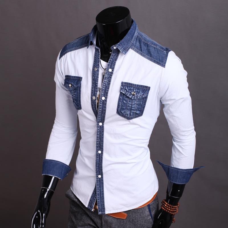 2015 New Fashion Mens Patchwork Denim Shirt Men Casual