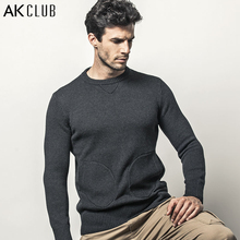 AK CLUB Brand Sweater Crew Neck Sweater Woolen Patchwork 1.36kg Mitten Pockets Men Sweater O-Neck Wool Knitted Sweater 1403024(China (Mainland))