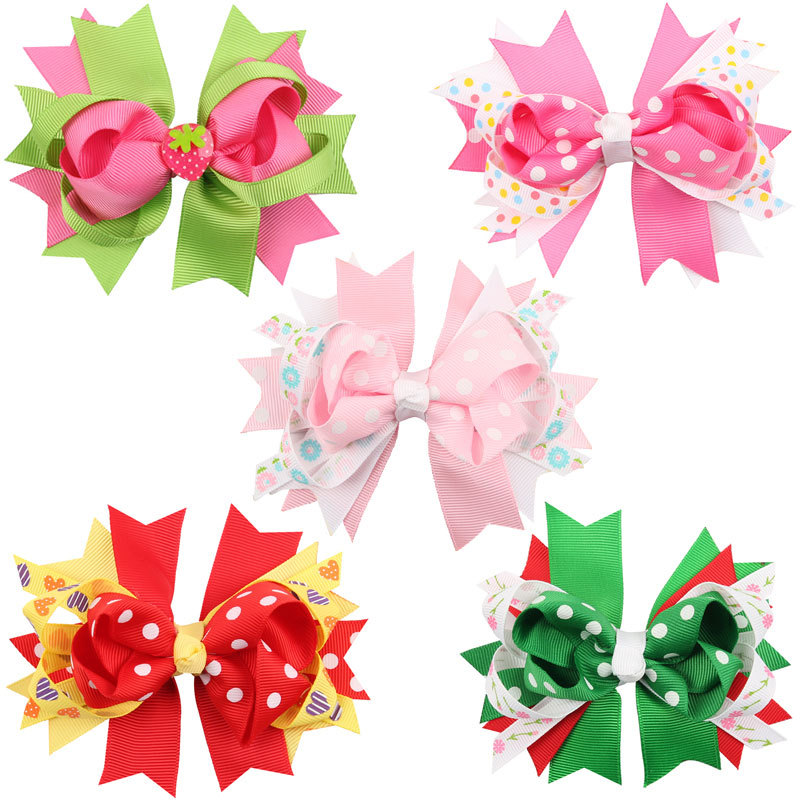 Lovely Kids Handmade Grosgrain Ribbon Boutique Flower Bows Hairpins Hairgrips Baby Hair Clips For Girls Lot Headwear Accessories(China (Mainland))