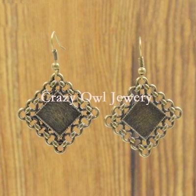 20pc/lot 12mm Earring Hooks Findings Antique Bronze Earring Base Cabochon Setting Earring Base Bezel Jewelry Findings Y1230<br><br>Aliexpress