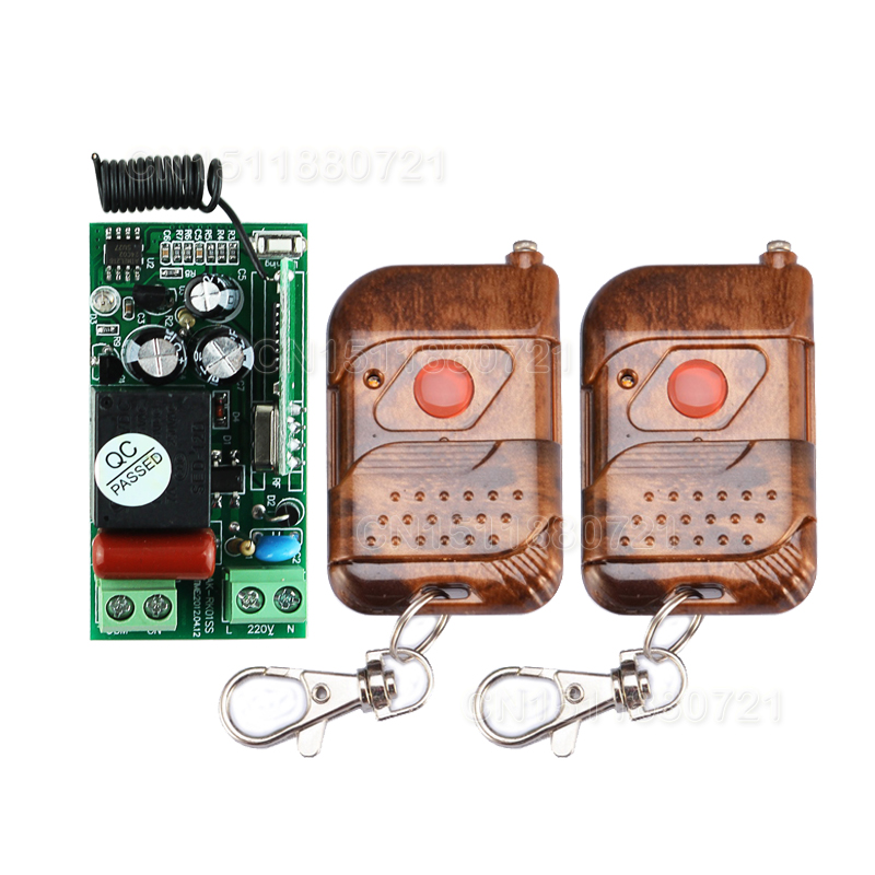 AC220V 1Ch RF Wireless Switch Remote Control Light Switch With 2PCS Transmitter 10A 433MHZ(China (Mainland))