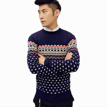 Brand New Men's Clothing 2015 Autumn O-neck Sweater Commercial Stripe Casual Knitted Slim Fit Men Sweater,Plus Size M-XXL(China (Mainland))