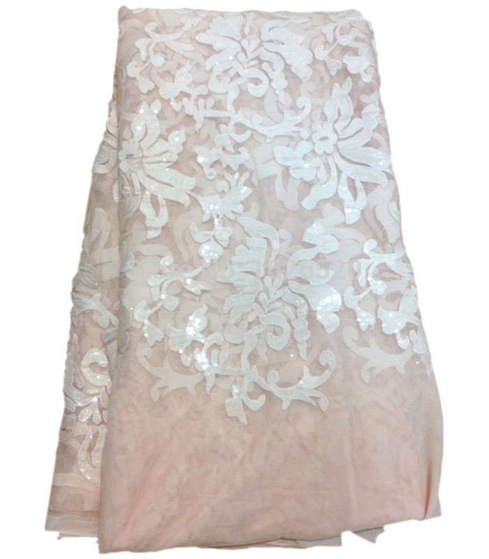 Markdown Sales Embroidered Flower Pattern With Sequins Design Pink French Lace Newest High Quality African Organza Lace Fabric(China (Mainland))